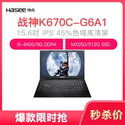 神舟戰神K670C-G6A1 英特爾酷睿i5-9400 MX250 2G 15.6英寸游戲筆記本電腦(8G 512GB SSD IPS)