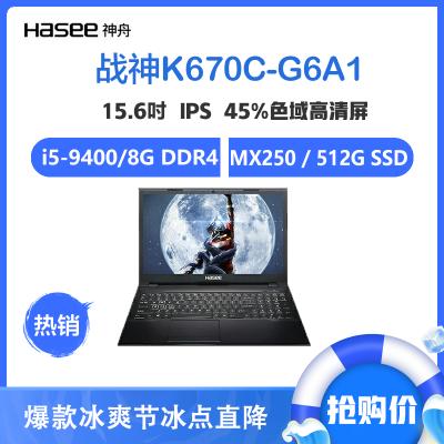 神舟戰神(Hasee)K670C-G6A1 15.6英寸游戲筆記本電腦(九代英特爾酷睿i5-9400 MX250 8G 512GB SSD 2G獨顯 IPS)