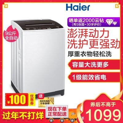 海尔(Haier)EB90BM029 9公斤 大容量 全自动家用波轮洗衣机 直驱变频 宽水压宽电压设计 一键桶干燥