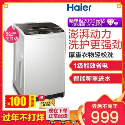 海尔(Haier)EB80BM029 8公斤 全自动家用波轮洗衣机 直驱变频 宽水压宽电压设计 一键桶干燥