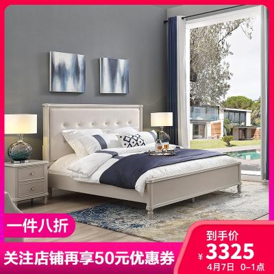 Ashley愛室麗 床 美式鄉村實木床 現代簡約 雙人床1.8米 白色酒店床主臥輕奢架子床