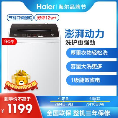 海爾(Haier)EB90BM029 9公斤 大容量 全自動家用波輪洗衣機 直驅變頻 寬水壓寬電壓設計 一鍵桶干燥