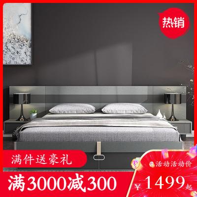 木月 床 北歐簡約主臥1.8米雙人床現代簡約公主婚床 臥室家具 墨簡系列