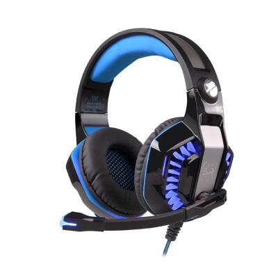 因卓G2000二代電腦游戲耳機頭戴式有線耳麥 雙插頭2米編織線帶線控 軟麥可彎曲重低音發光大耳罩 黑藍黑紅雙色可選