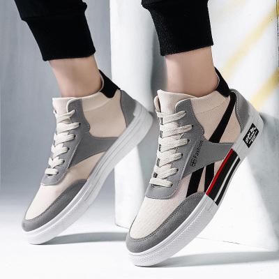 跨馬KAMAZ 2019网红高低帮板鞋学生帆布鞋男鞋子男潮流板鞋透气小白鞋运动鞋百搭复古男士休闲鞋