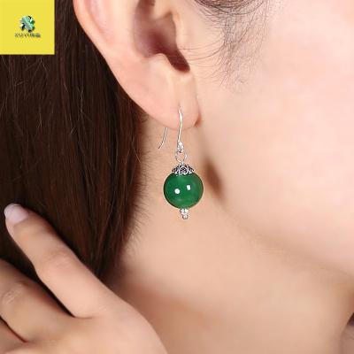 序壹(XUYI)耳環飾品耳飾耳墜綠瑪瑙銀飾耳鉤