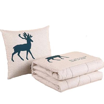 矩仁品牌抱枕被子聚酯纖維面料40CM加厚兩用辦公室午睡枕汽車抱枕被多功能枕頭折疊毛毯空調被