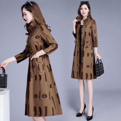 情嬌婷(QINGJIAOTING)中年風衣女中長款2020新款春秋裝韓版修身時尚媽媽裝大碼外套秋季