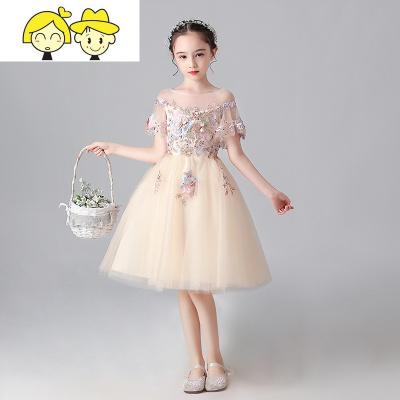 女童礼服钢琴演出服儿童模特走秀公主裙香槟色花童蓬蓬纱晚礼服冬