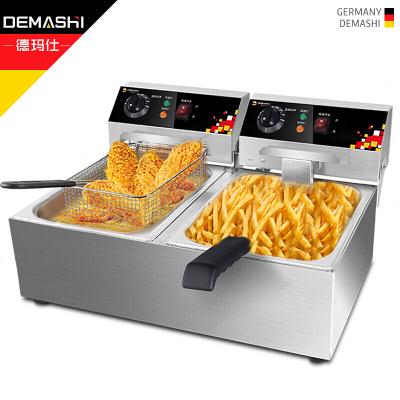 德玛仕(DEMASHI) 电炸炉商用 小吃油炸锅油炸机 油条机 薯条机 电炸锅 L-102A-S(304不锈钢款)