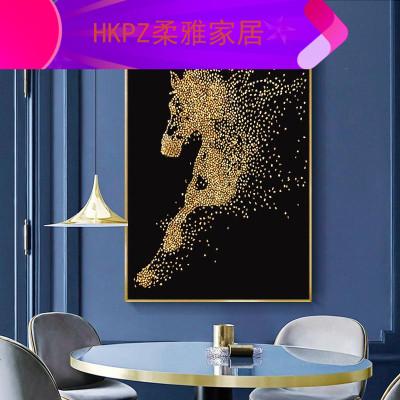 HKPZ 畫2019新款滿鉆磚石貼畫馬到成功2020貼鉆十字繡客廳單小件