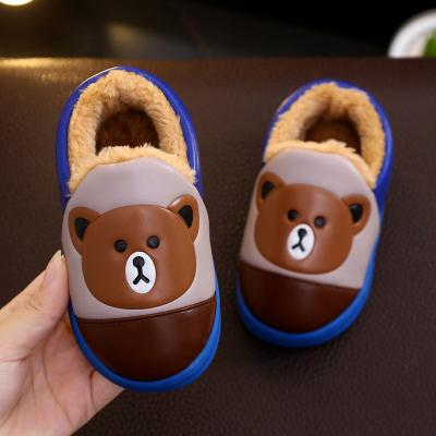 迈凯恩品牌冬季儿童棉拖鞋加绒保暖防水小熊包跟棉鞋小童加厚防滑毛绒棉拖鞋