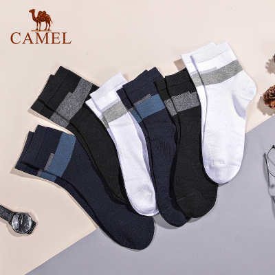 【长袜6双装】CAMEL骆驼袜子男短筒棉质吸汗防臭棉袜男士运动薄款