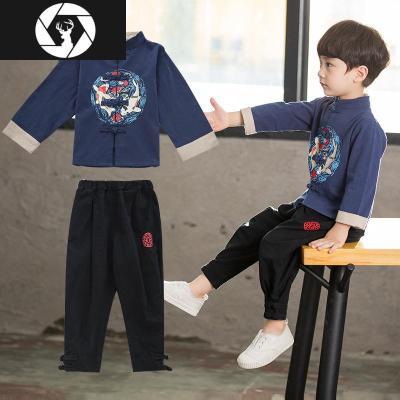 小男孩子长袖中国风改良汉服两件套装春秋季童装儿童古装名族唐装