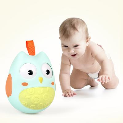 【上下晃眼】【網紅IP】貓頭鷹萌趣搖鈴不倒翁0-6-12月嬰幼兒童益智玩具0-1-3歲(薄荷綠)