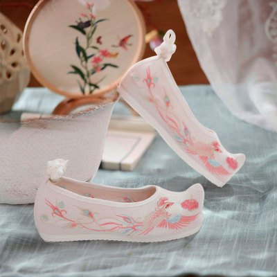 古風鞋子女漢服鞋內增高繡花鞋子女古風古裝漢服搭配鞋漢鞋繡花鞋