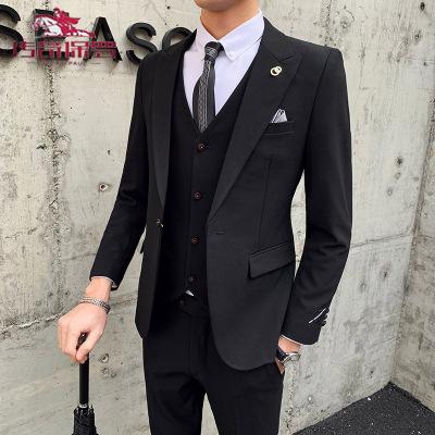 傳奇保羅(CHUANQIBAOLUO)西服套裝男士三件套韓版修身小西裝職業正裝伴郎服裝新郎結婚禮服