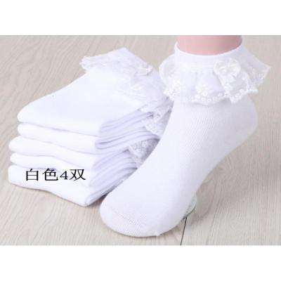 抹炫(MOXUAN)儿童白袜子纯棉女孩短袜女童蕾丝拉丁舞花边袜春夏薄款公主棉袜夏