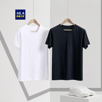 HLA海瀾之家男裝圓領短袖T恤2019春季新品兩件裝男士打底汗衫HUAAJ1R009A