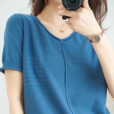 2020新款夏裝V領針織衫薄款短袖女T恤寬松上衣休閑韓版純色打底衫