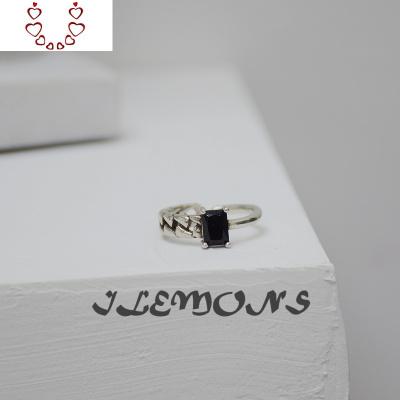 韓ins冷淡風白銅鍍泰銀黑瑪瑙鏈條戒指不規則個性復網格開口戒女 Chunmi瑪瑙戒指