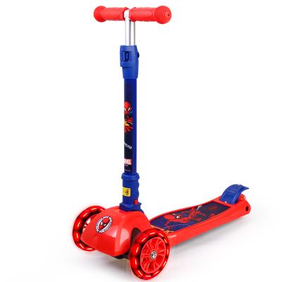 漫威(MARVEL)兒童滑板車折疊升降四輪閃光PU輪加寬腳踏車搖擺車 蜘蛛俠承重50KG身高80CM以上