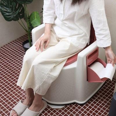 可移动马桶老人坐便器扶手靠腰孕妇舒适马桶家用室内扶手靠腰马桶