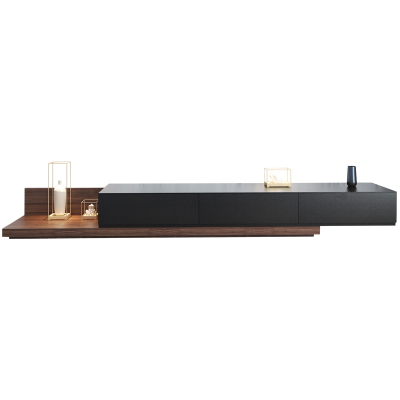 汐巖北歐電視柜茶幾組合 黑胡桃色可伸縮電視機柜 現代簡約小戶型地柜