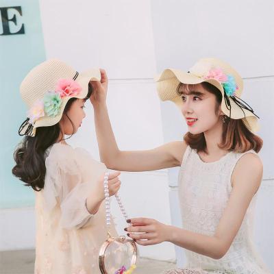 親子帽女童兒童帽遮陽帽夏大沿太陽沙灘帽花朵帽韓版涼帽盆帽
