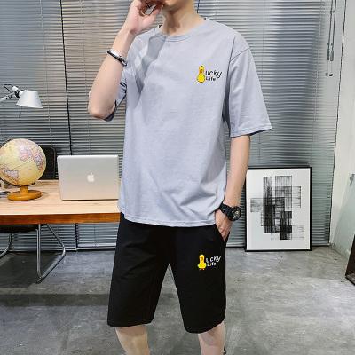 波斯萊 主推t恤男士短袖夏季一套裝韓版潮流男裝運動休閑帥氣搭配長褲子夏裝B
