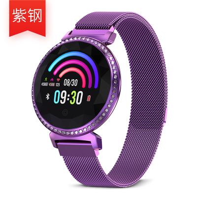 時尚女性智能腕表多功能心率血壓監測彩屏計步器運動健康手環女士手表來電提醒IP67防水璀璨紫 璀璨紫