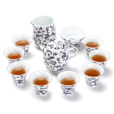 简约家用陶瓷干泡茶具薄胎白瓷十二头功夫茶具套装