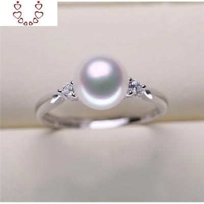 S925銀 淡水 珍珠戒指 6-7mm珍珠戒指 女款珍珠戒指 Chunmi