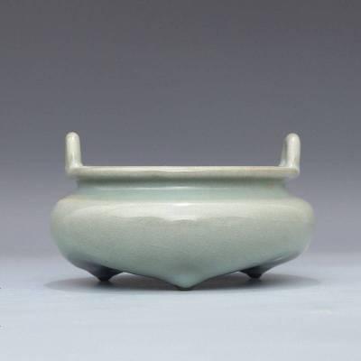 宋 官窯 天青釉 三足雙耳爐 古董瓷器古玩古瓷器 老物件舊貨收藏