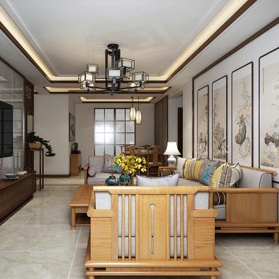 枳記家 新中式沙發客廳現代簡約實木仿古沙發組合樣板房整裝布藝家具定制
