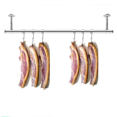 定制陽臺固定式晾衣桿25加厚不銹鋼掛衣桿曬衣架單桿墻吊頂裝 桿長1.5米+15cm高(送風勾)