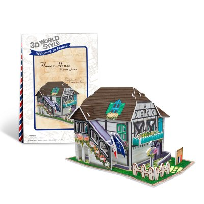 DIE-CAST樂立方3D立體拼圖拼插DIY紙模型拼圖 世界風情法國建筑兒童拼裝拼插玩具擺件 花屋