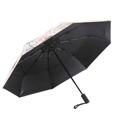 天堂傘安全自開收全遮光黑膠轉印三折晴雨傘 30491ELCJ