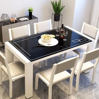 餐桌家用小戶型現代簡約大理石紋鋼化玻璃餐桌椅組合長方形吃飯桌納麗雅(Naliya)餐廳家具套裝