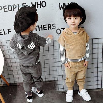 Halozeroo 寶寶秋裝套裝1男童春秋2洋氣3帥氣小童燈芯絨三件套兒童衣服潮4歲