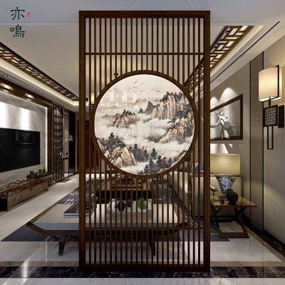 新中式屏風隔斷墻客廳裝飾實木玄關辦公室簡約現代半透明禪意座屏 支持材質尺寸圖案定制