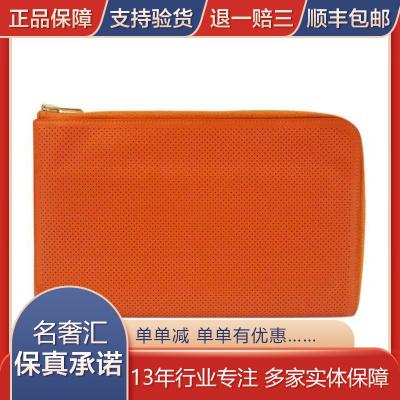 【正品二手9成新】愛馬仕(Hermès) 女士紅橙色 牛皮 手拿包 內含 化妝袋 時尚潮流女包