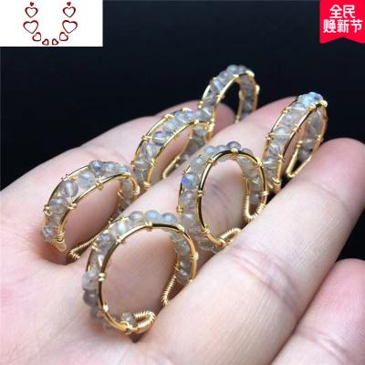 原創設計灰月光戒指活口拉長石藍月光戒指水晶飾品 Chunmi
