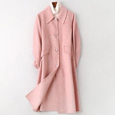 2019秋冬新款雙面毛呢大衣女士時尚簡約羊毛呢子外套