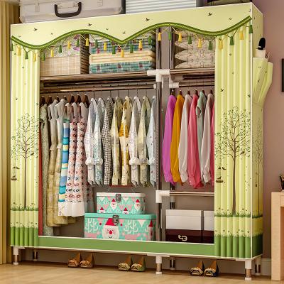 艾格调简易衣柜钢管加粗加固布衣柜布艺简约现代经济型组装衣橱收纳柜子2563D