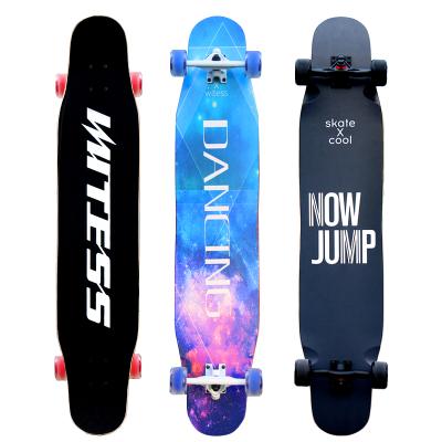 WITESS滑板成人女生初學者長板男生四輪雙翹刷街韓國抖音同款舞板專業楓木板承重200KG通用平板