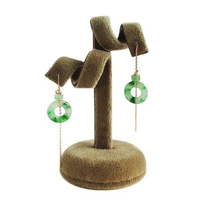 【正品二手95新】翡翠耳環 18K玫瑰金 滿綠 飄花 翡翠 平安扣(平平安安) 耳墜