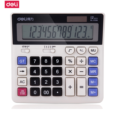 得力(deli)2136雙電源電腦按鍵財務計算器 12位大屏橫式桌面計算機 白色