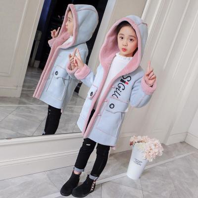 果夕童裝女童外套上衣冬裝2019兒童皮毛一體拼接加絨保暖麂皮絨大衣時尚中大童3-15歲小女孩衣服