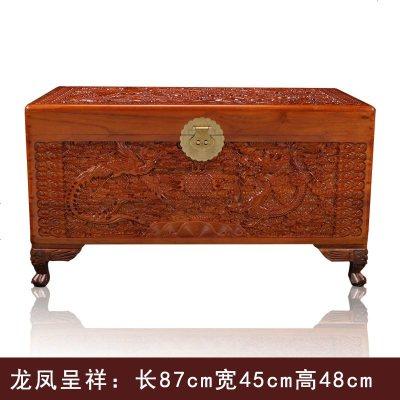 杞沐中式實木樟木雕刻香樟木箱子字畫盒儲物箱婚嫁陪嫁嫁妝箱